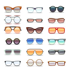 summer sunglasses fashion eyeglasses flat vector image