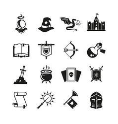 Fantasy medieval tale icons mystery magic vector