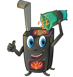 Pellet stove cartoon vector