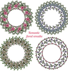 Hand drawn floral frames circle natural wreaths vector