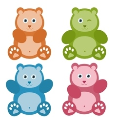 Set of color teddy bears vector