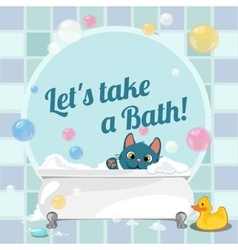 Cartoon of a kitten taking a bath vector