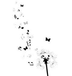 Dandelion notes butterflies vector