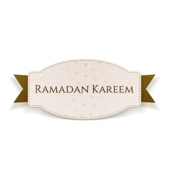 Ramadan kareem festive badge with text and ribbon vector