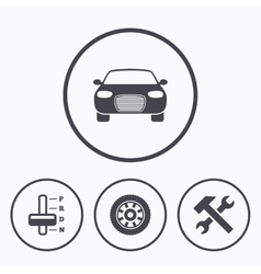 Transport icons tachometer and repair tool vector