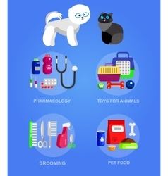 Pet shop pets accessories and vet store vector