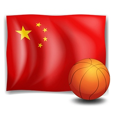 A ball in front of the Chinese flag vector image vector image
