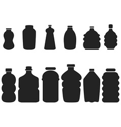 Black plastic bottle set vector