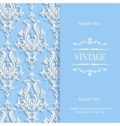 Blue 3d vintage invitation card template vector