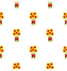 Bouquet of flowers pattern flat vector