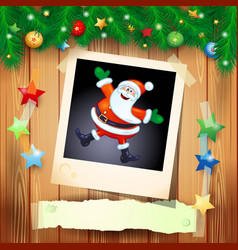 christmas background with photo of happy santa vector image vector image