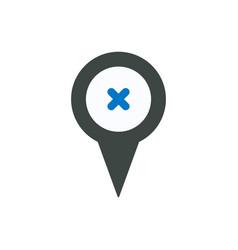 Cross delete location marker pin point remove icon vector