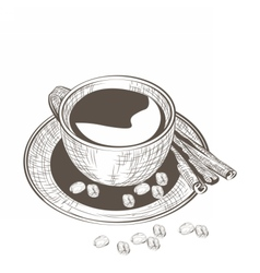 Cup of coffee with fresh beans vector