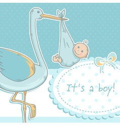 Cute baby boy announcement card with stork vector