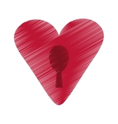 Drawing heart padlock keyhole valentine vector