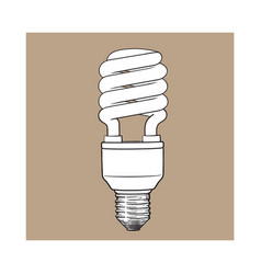 fluorescent energy saving spiral light bulb on vector image vector image