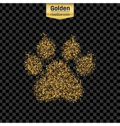 Gold glitter icon of animal footprint vector image