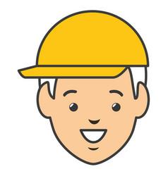Head worker with helmet vector