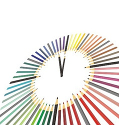 Hours of colored pencils vector image