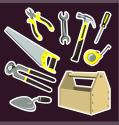 is a set of cartoon tools vector image vector image