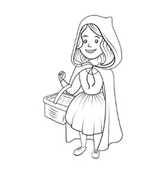 Little red riding hood coloring book vector