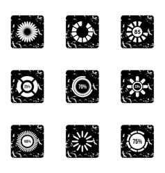 Loading and waiting icons set grunge style vector