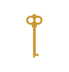 Old key isolated ancient door clef on white vector