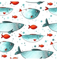 Pattern with funny fishes vector