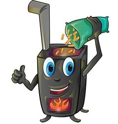 Pellet stove cartoon vector