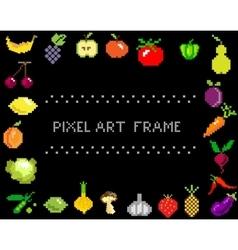 Pixel-art fruit and vegetables on black frame vector