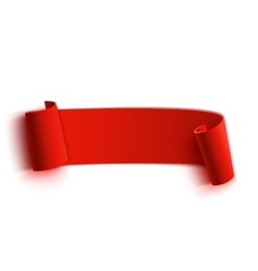 Realistic detailed curved red paper banner ribbon vector image vector image
