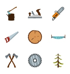 Sawing woods icons set flat style vector