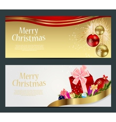 Set of cards with Christmas BALLS stars and vector image vector image
