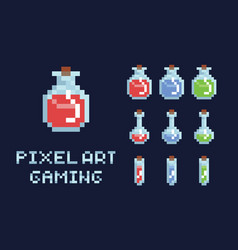 set of pixel art potion bottles red green and vector image