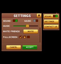 Settings screen for slot game vector
