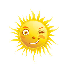 Sun smile winking cartoon emoticon summer emoji vector