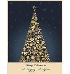tree from golden snowflakes vector image vector image