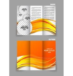 tri-fold brochure in orange color vector image