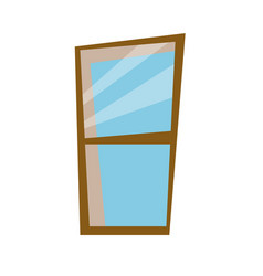 Wooden frame window glass decoration icon vector