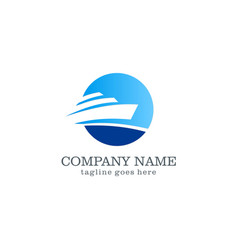 Yacht boat logo design vector