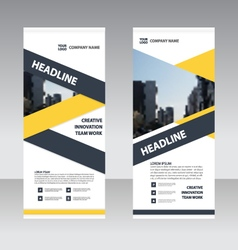 Yellow Roll Up Banner flat design template set vector image