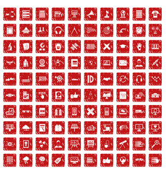 100 education technology icons set grunge red vector