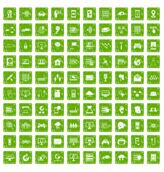100 network icons set grunge green vector image