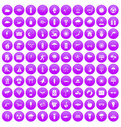 100 sun icons set purple vector