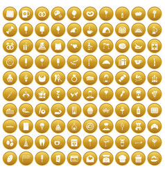 100 sweets icons set gold vector