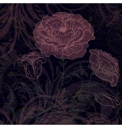 Grungy dark retro background with roses vector image
