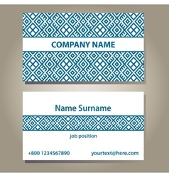 Business card template in blue and white colors vector