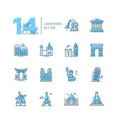 Landmarks - coloured modern single line icons set vector