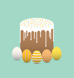 painted easter eggs with easter cake vector image