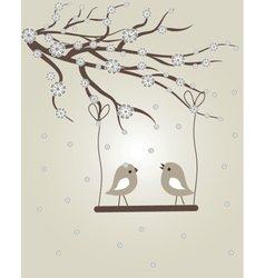 Cute floral spring birds vector